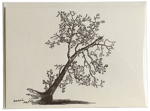 Button Wood Tree Letterpress Notecard