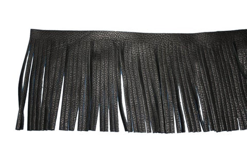 black vegan leather fringe {ADD ON}