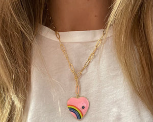 Kids/Tween Pink Rainbow Heart Necklace
