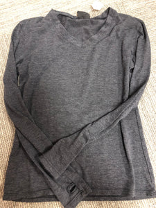 Gray Long Sleeve V Neck With Thumb Holes - Down 2 Earth