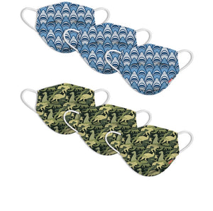 "KIDS FUN DISPOSABLE MASKS (6-PACK) ""SHARK FRENZY"" & ""DINO CAMO"" DESIGNS"