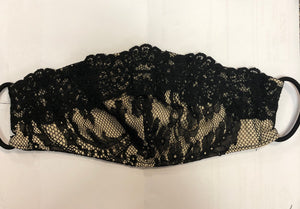 Black & Beige Lace Mask - Down 2 Earth