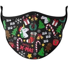 Christmas Fashion Black Adjustable Face Mask