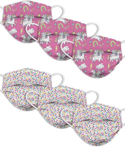 "KIDS FUN DISPOSABLE MASKS (6-PACK) ""SPRINKLES"" & ""UNICORN WORLD"""
