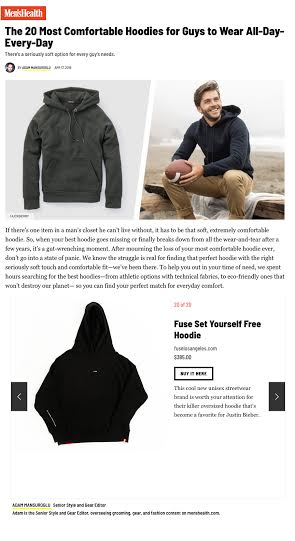 FUSE FEATURED IN MEN'S HEALTH - TOP 20 MOST COMFORTABLE HOODIES