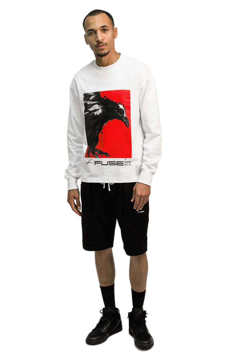 Red Box Bird Heavy Weight Mock Neck Tee - White