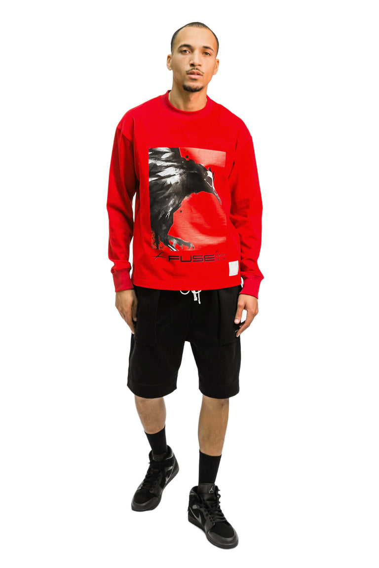 Red Box Bird Heavy Weight Mock Neck Tee - Red