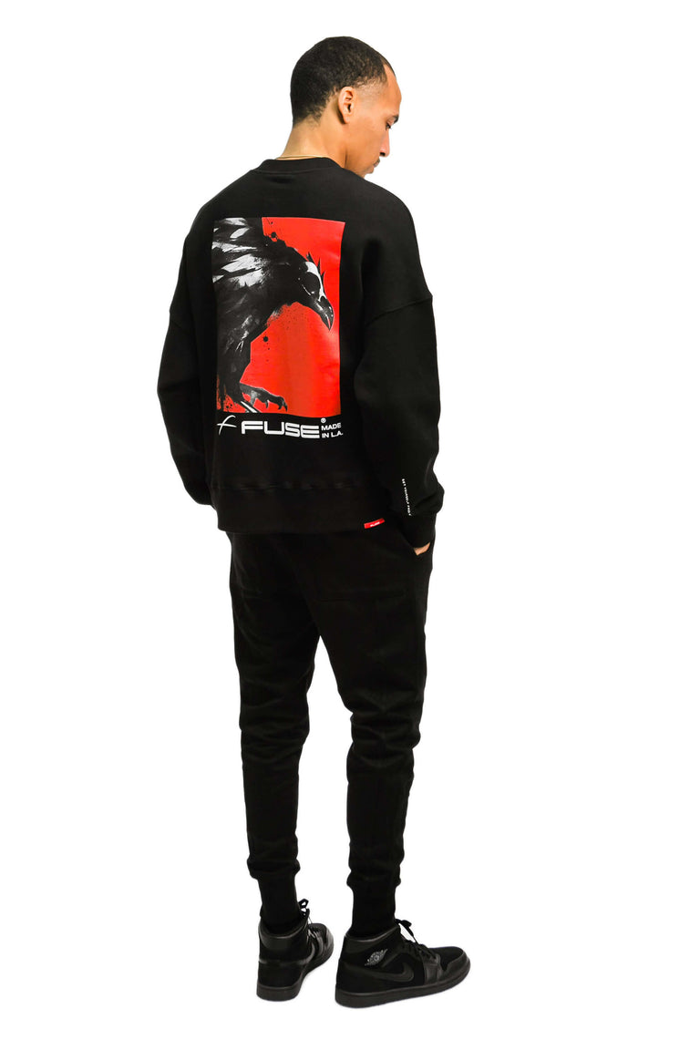 Red Box Bird Sweatshirt - Black
