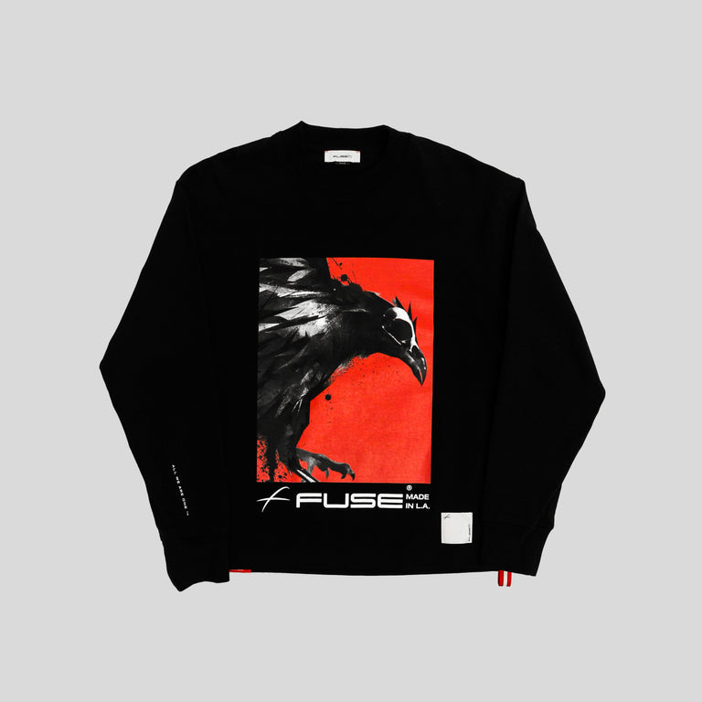 Red Box Bird Heavy Weight Mock Neck Tee - Black
