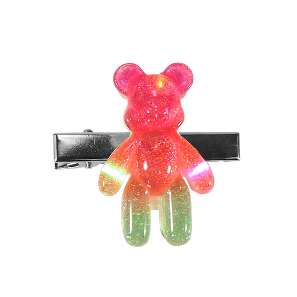 BrittsClips, Light up, Blinking LED Lights, Teddy Bear Hair clip
