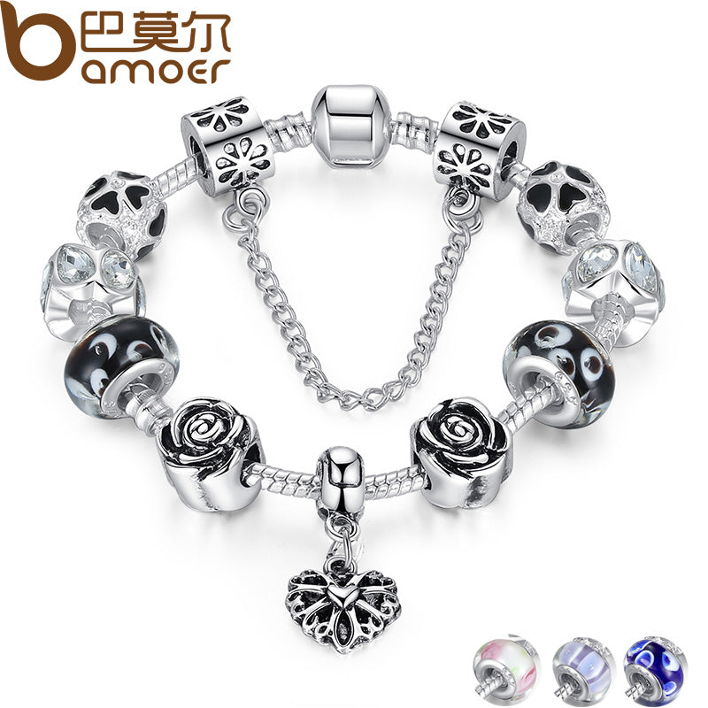 BAMOER 4 Colors Silver Heart Charm Bracelet Silver with Safety Chain & Black Beads Bracelet Authentic Jewelry PA1435