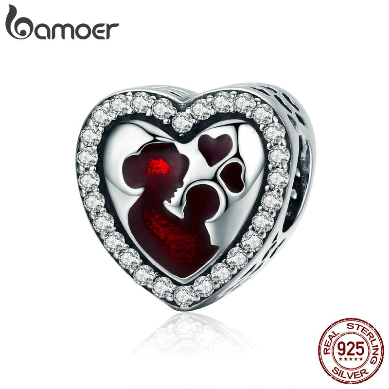 BAMOER 100% 925 Sterling Silver Great Mother's Love Heart Engrave Charm Beads fit Bracelet & Necklace Jewelry Mother Gift SCC634