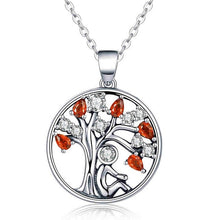 Load image into Gallery viewer, BAMOER Popular 925 Sterling Silver Rely Tree of Life Pendant Necklaces Clear Green CZ Women Fashion Jewelry Brincos Gift SCN094