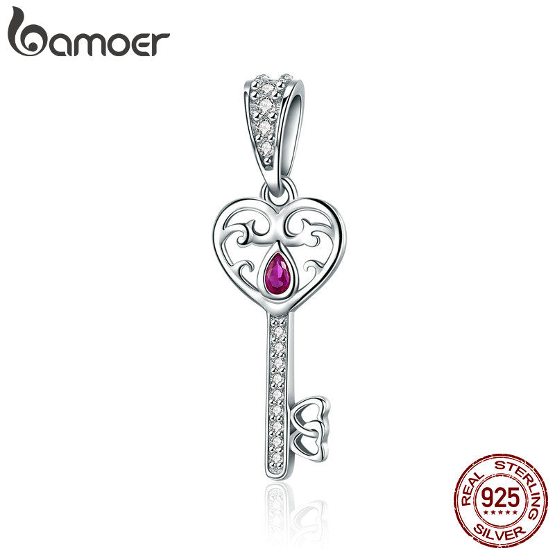 BAMOER 100% 925 Sterling Silver Happiness Key Heart Shape Pendant Charm fit Women Bracelets & Necklaces Jewelry Gift SCC791