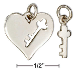 Sterling Silver Cut-out Key on Heart Charm with Key Charm Set