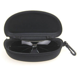 NEW 1 or 2 pcs Fashion Black Portable Clam Shell Eye Glasses Sunglasses Zipper Hanging Hook Hard Cases Protector Boxs Bags