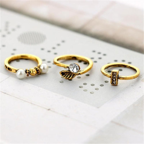6pcs Women Fashion Ring Finger Ring Jewelry Peal Ring