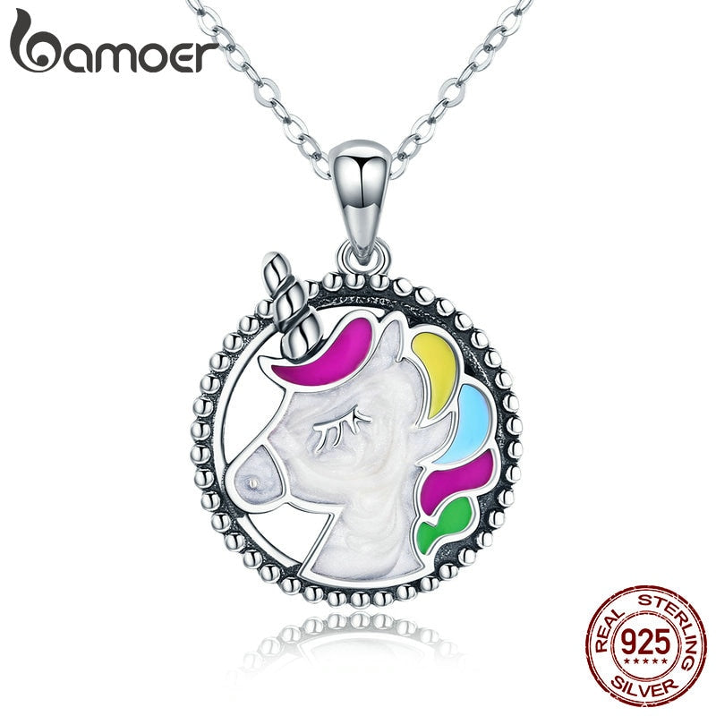 BAMOER Trendy 925 Sterling Silver Pendant  Memory Colorful Enamel Necklaces for Women Silver Necklace Jewelry Gift SCN266