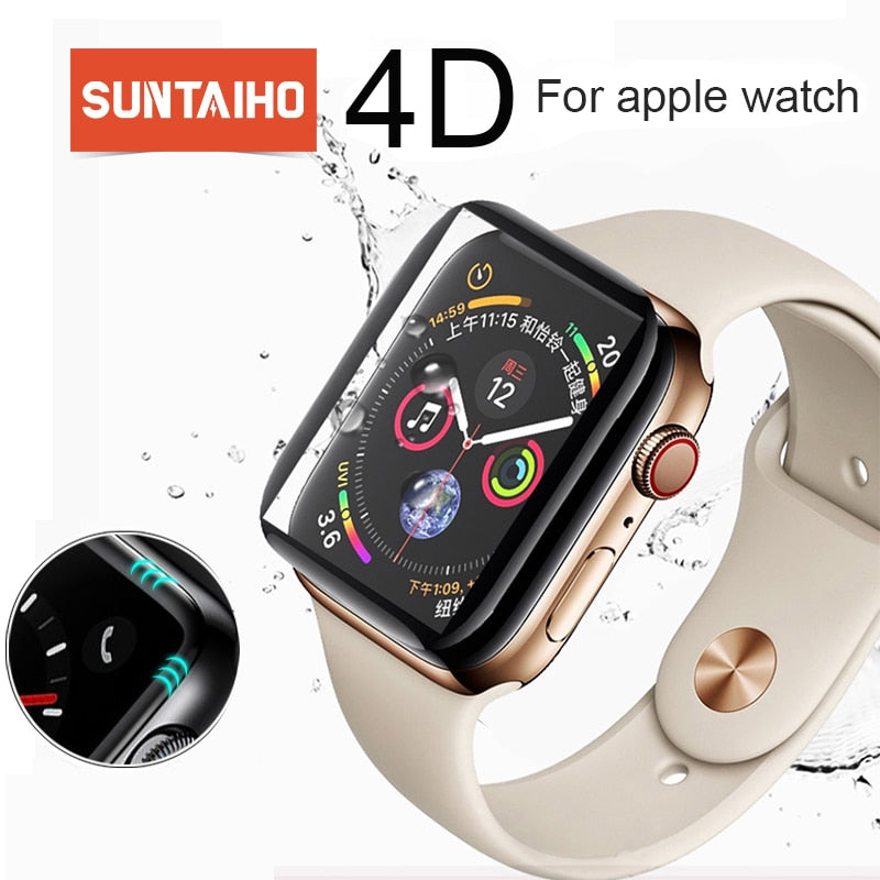 Suntaiho 4D curved surface 9H Tempered film For Apple watch 40/44mm 38/42 mm Screen Protector for Apple Series watch 4/3/2 Film