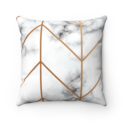 White & Gold Marble Pillow