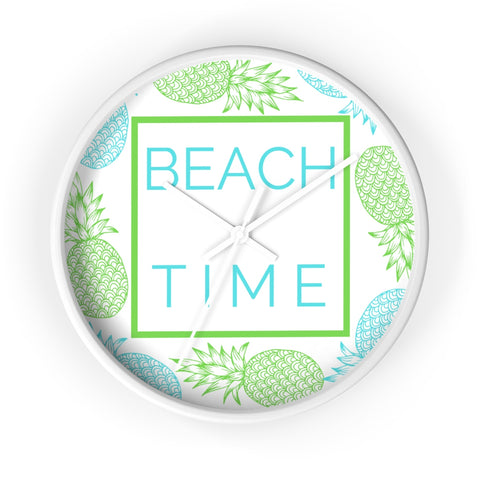 White Beach Time Wall Clock