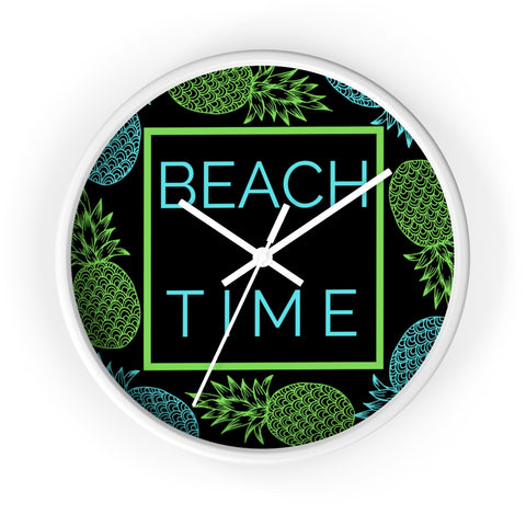 Black Beach Time Wall Clock
