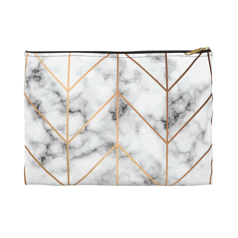 White & Gold Marble Makeup Bag