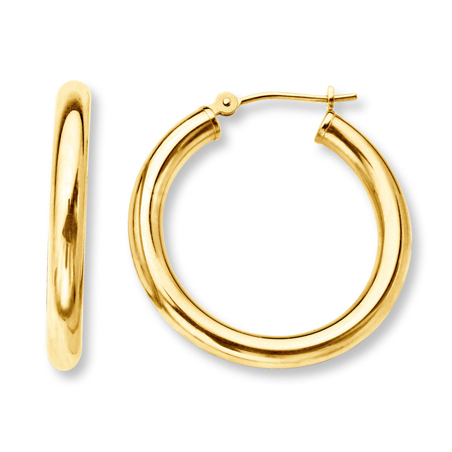 Yellow Gold 10mm Round Hoops