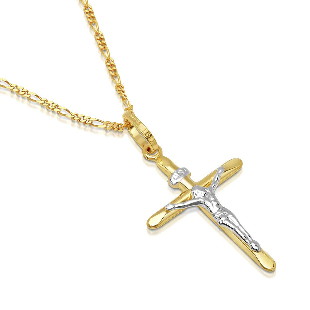 Two Tone Gold Crucifix Pendant