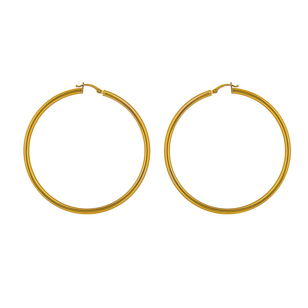 Yellow Gold Round Hoops (50mm)