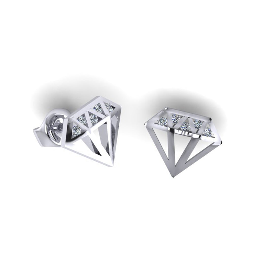 9CT GOLD DIAMONDS SHAPE SILHOUETTE FASHION STUDS SET WITH ROUND BRILLIANT DIAMONDS