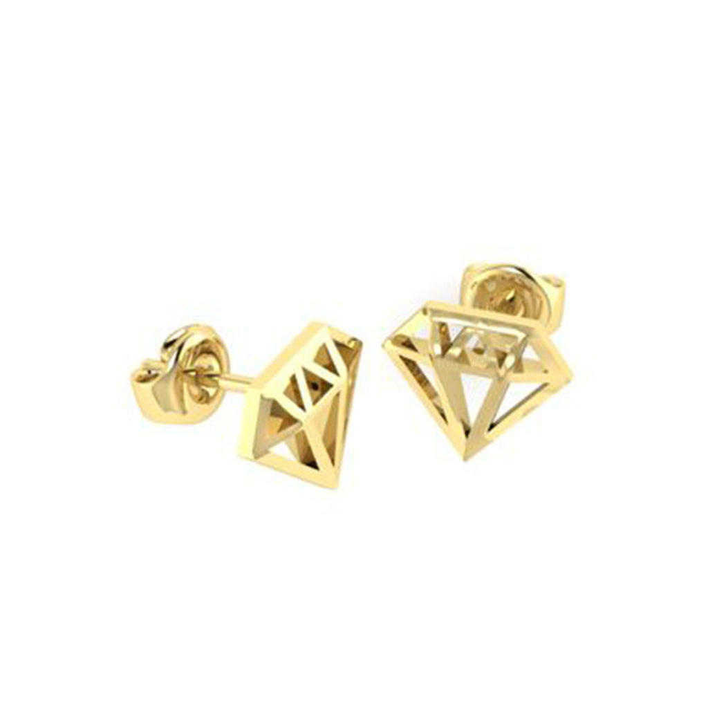 9k YELLOW-ROSE-WHITE GOLD DIAMOND SHAPED STUDS
