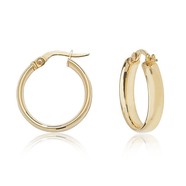 Gold D-Shaped Hoops (20mm)
