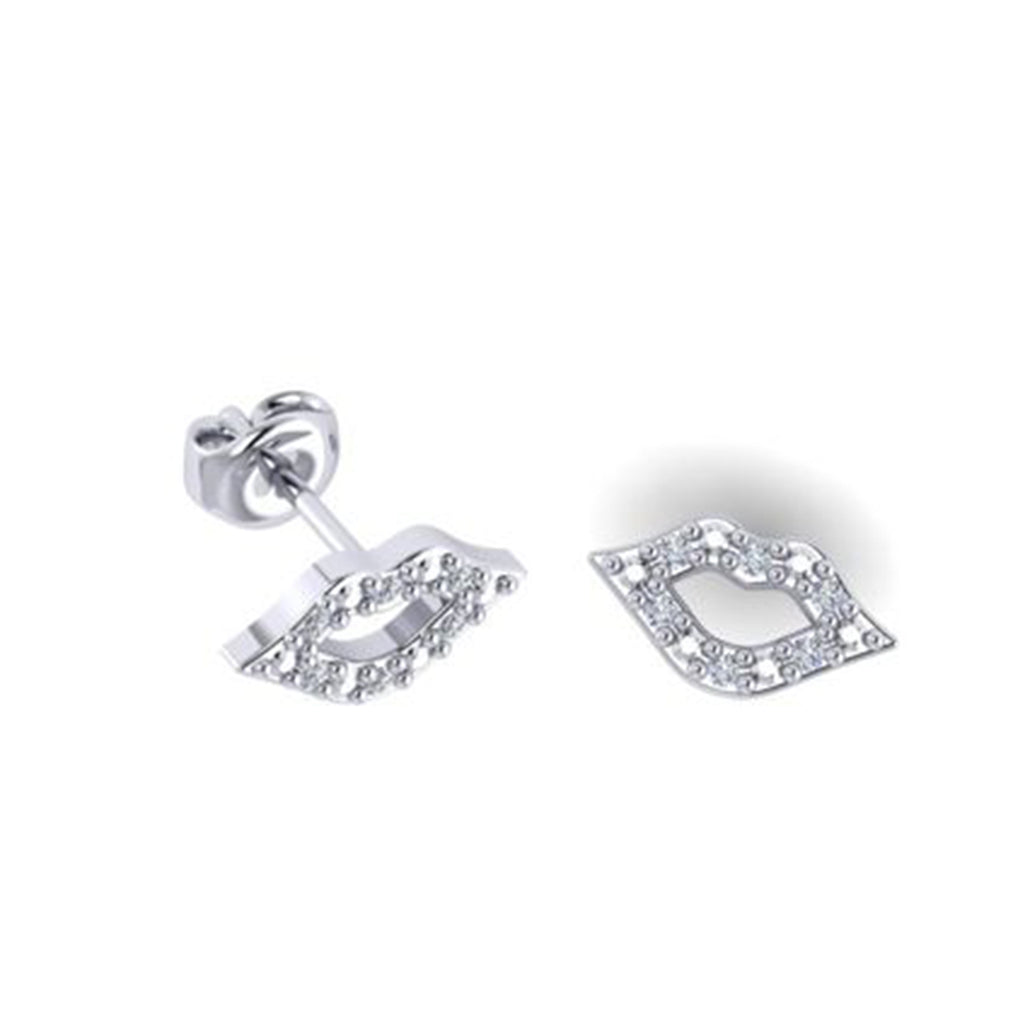 9k YELLOW-ROSE-WHITE GOLD LIPS EARRING WITH DIAMONDS
