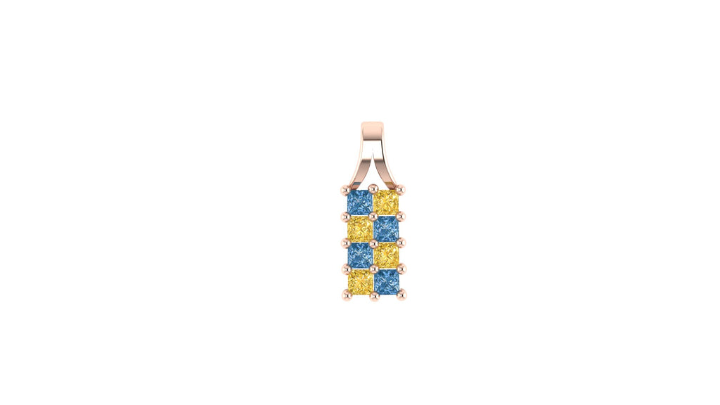Diamond Checkerboard Drop Pendant