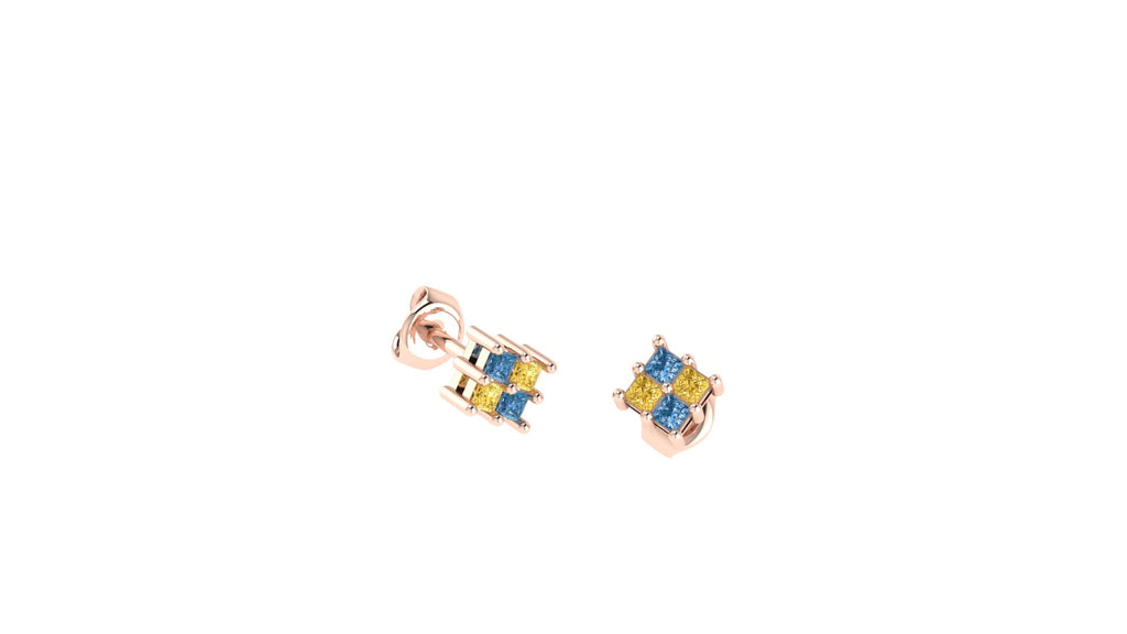 Diamond Checkerboard Stud Earrings