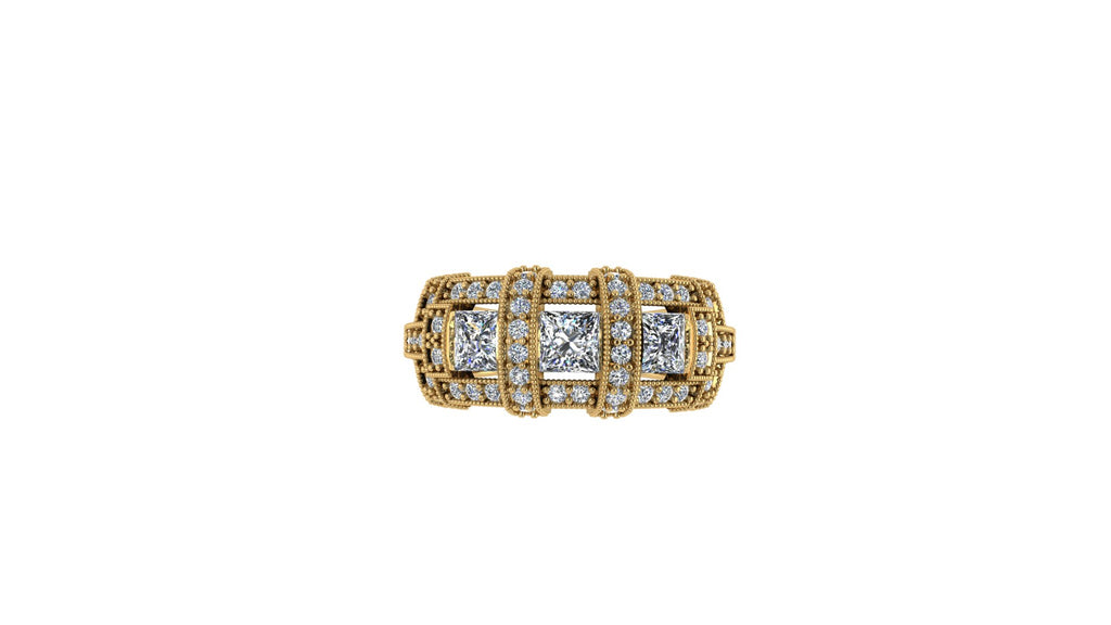 PRINCESS CUT DIAMOND DRESS RING WITH THREE PRINCESS CUTS ENCRUSTED WITH ROUND BRILLIANT DIAMONDS