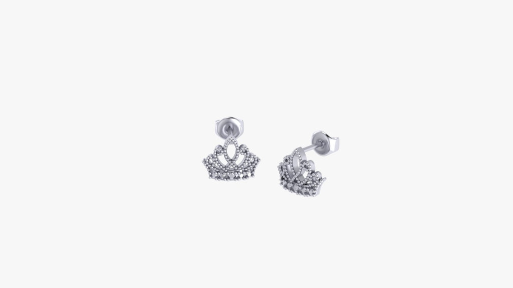 9k YELLOW-ROSE-WHITE GOLD CROWN EARRING