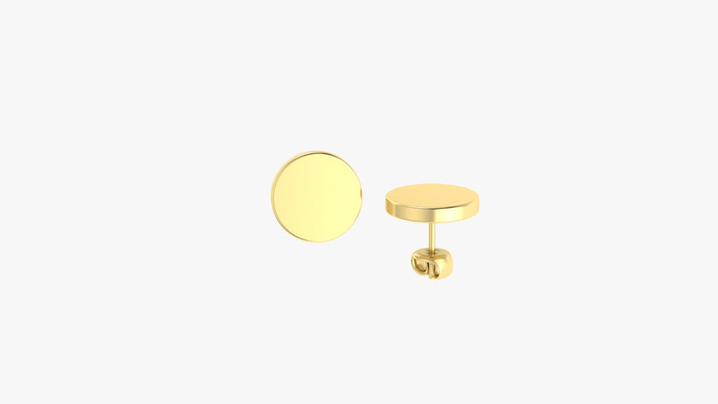 9K GOLD EARRINGS FEATURING A ROUND DISK MOTIF