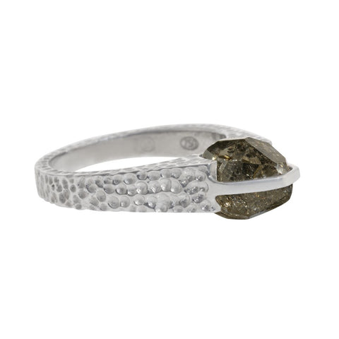White Gold Grooved Ring
