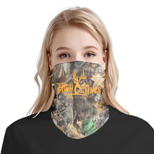 Load image into Gallery viewer, camo neck gaiter/ facemask orange logo