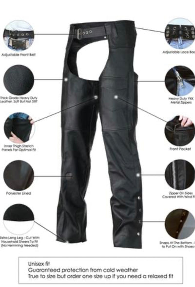 Classic Biker Leather Chaps- Men or Women