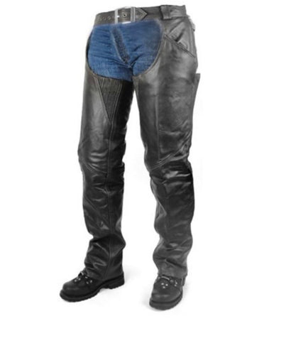 Insulated Zip-Out All Season Leather Chaps, BLACK- Men or Women
