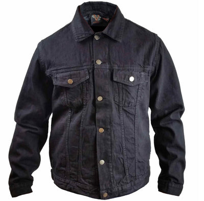 Black Heavy Duty Denim Button Front Jacket- MEN