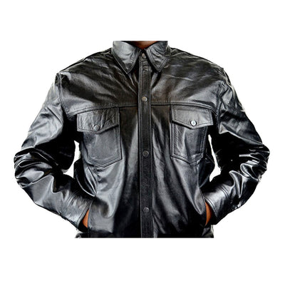 Men's Concealed Carry Black Cowhide Leather Biker Shirt