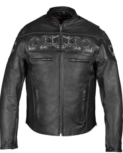 Men's Reflective Premium Skull Cowhide Leather Motorcycle Jacket