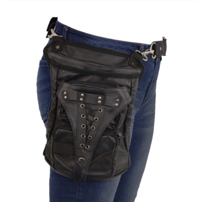 Leather Thigh Bag with Waist Belt-BLACK