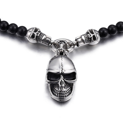 Beaded Onyx Stainless Steel Skull Head