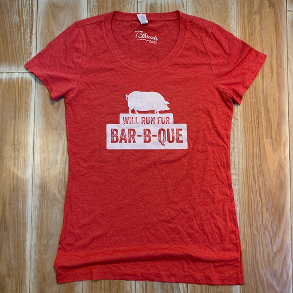Women's Large shirt - Will Run for BBQ