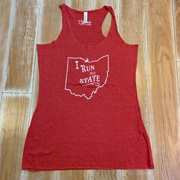Women's Medium tank - I Run this State Ohio